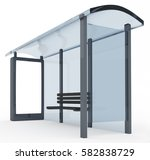 3d rendering of bus stop with... | Shutterstock . vector #582838729