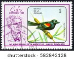 "Small photo of UKRAINE - CIRCA 2017: A stamp printed in Cuba, shows a Bird Agelaius assimilis. Mayito de la cienaga. the series ""The 90th Anniversary of the Death of Juan C. Gundlach"" Ornithologist, circa 1986"