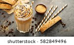 iced caramel latte coffee in a...   Shutterstock . vector #582849496