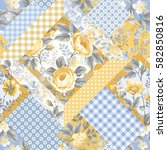 seamless floral patchwork... | Shutterstock .eps vector #582850816