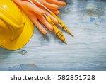 safety building helmet... | Shutterstock . vector #582851728