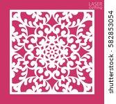die cut ornamental square panel ... | Shutterstock .eps vector #582853054