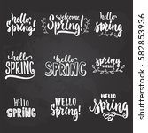 hello  spring   hand drawn... | Shutterstock .eps vector #582853936