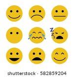 emotion set. simple smiley set | Shutterstock .eps vector #582859204