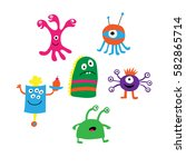 set of a different monsters on... | Shutterstock .eps vector #582865714