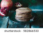 chocolate pancake with... | Shutterstock . vector #582866533