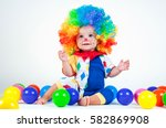 child clown with a red nose...   Shutterstock . vector #582869908