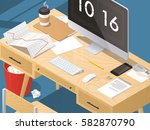 isometric vector office concept ... | Shutterstock .eps vector #582870790
