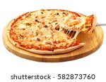 pizza with seafood  mozzarella  ... | Shutterstock . vector #582873760