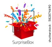 surprise box isolated on white... | Shutterstock .eps vector #582874690