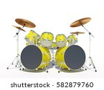 yellow drum kit on a white... | Shutterstock . vector #582879760