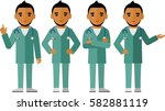 set of  arab medical people ... | Shutterstock .eps vector #582881119