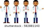 set of  arab medical people ... | Shutterstock .eps vector #582881143