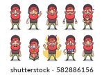 funny cartoon character. ginger ... | Shutterstock .eps vector #582886156