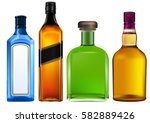 colorful alcohol bottles set... | Shutterstock .eps vector #582889426