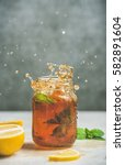 summer cold iced tea with fresh ... | Shutterstock . vector #582891604