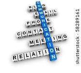 communication crossword (blue-white cubes crossword series) - stock photo