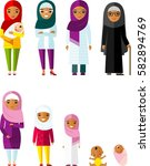 all age group of arab family.... | Shutterstock .eps vector #582894769