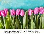 Pink Tulips On Turquoise...