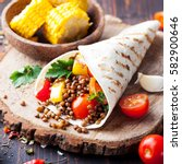vegan tortilla wrap  roll with... | Shutterstock . vector #582900646