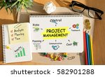 notebook with toolls and notes... | Shutterstock . vector #582901288