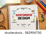 notebook with toolls and notes... | Shutterstock . vector #582904750