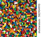 colored toy bricks background.... | Shutterstock . vector #582904993