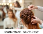beautiful  red haired girl with ...   Shutterstock . vector #582910459