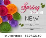 spring background with paper... | Shutterstock .eps vector #582912160