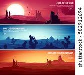desert trip. extreme tourism... | Shutterstock .eps vector #582912694