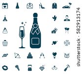 champagne bottle and glass icon ... | Shutterstock .eps vector #582913174