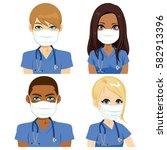health nurse team people... | Shutterstock .eps vector #582913396