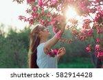 beautiful blonde girl with long ...   Shutterstock . vector #582914428