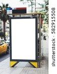 blank advertising light box on... | Shutterstock . vector #582915508