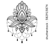 mehndi lotus flower pattern for ... | Shutterstock .eps vector #582915874