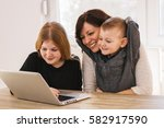 happy loving family. mom and... | Shutterstock . vector #582917590