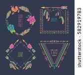 hand drawn boho style frames... | Shutterstock .eps vector #582919783