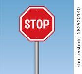 stop road sign   Shutterstock .eps vector #582920140
