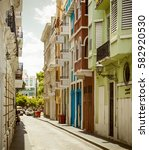 colorful street in old san juan ... | Shutterstock . vector #582920530