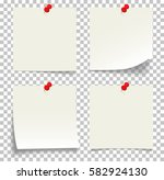 collection of white note papers ... | Shutterstock .eps vector #582924130