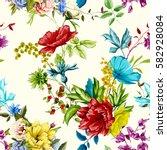 flowers. poppy  wild roses ... | Shutterstock .eps vector #582928084