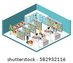isometric interior of grocery... | Shutterstock .eps vector #582932116