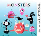set of different funny monsters ... | Shutterstock .eps vector #582936664