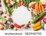 variety of organic vegetables... | Shutterstock . vector #582940750