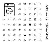 machine washing laundry symbols ... | Shutterstock .eps vector #582944329
