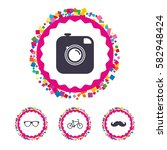 web buttons with confetti...   Shutterstock .eps vector #582948424