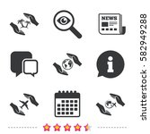 hands insurance icons. palm...   Shutterstock .eps vector #582949288