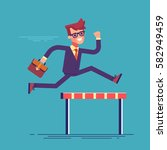 confident businessman jumping... | Shutterstock .eps vector #582949459