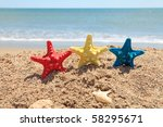 Three Colorful Starfish And...