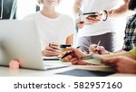a cropped photo of the meeting...   Shutterstock . vector #582957160